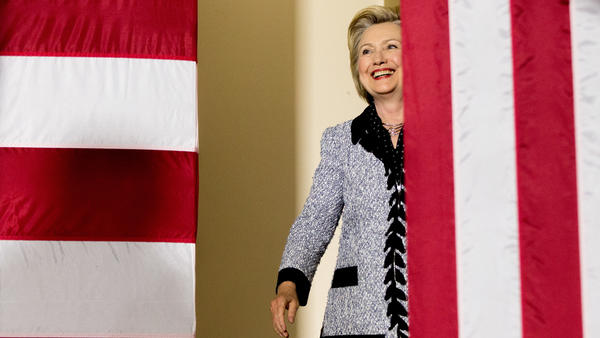 Democratic presidential candidate Hillary Clinton arrives to speak at a rally at the International Brotherhood of Electrical Workers Circuit Center in Pittsburgh on Tuesday.