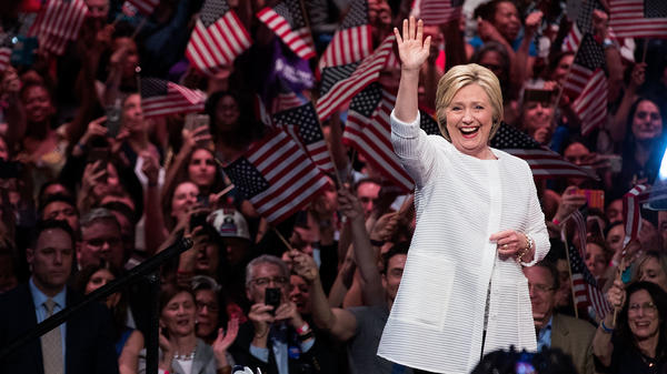 Hillary Clinton arrives onstage during a primary night rally in Brooklyn on June 7.