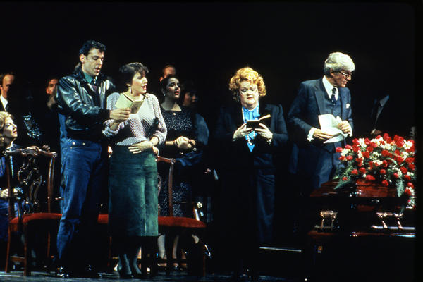 A scene from the world premiere of Bernstein's <em>A Quiet Place</em> with Peter Kazaras as François and Sheri Greenawald as Dede (left) and Carolyne James as Mrs. Doc and Peter Harrower as Doc (right).