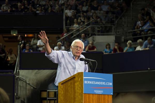 File photo of Sen. Bernie Sanders speaking at Alaska Airlines Arena at Hec Edmundson Pavilion in Seattle on August 8, 2015.