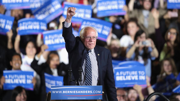 Bernie Sanders greets supporters at an election-night rally on June 7 in Santa Monica, Calif.