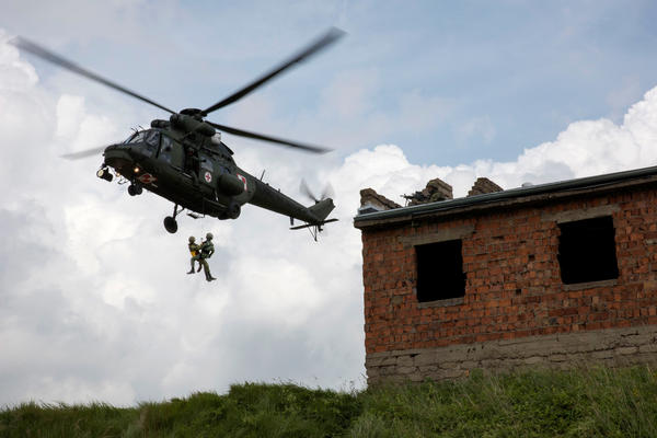 Polish soldiers perform a medical evacuation as part of the Anakonda exercise in Poland. More than two dozen countries, including NATO members and partner countries, took part in the largest such exercise since the collapse of the Soviet Union in 1991.