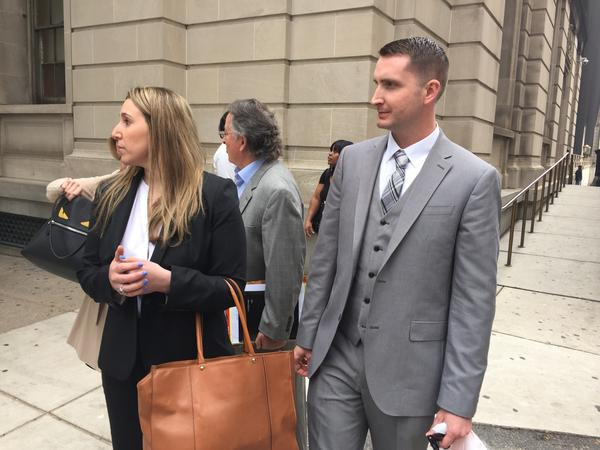 (file photo) Officer Edward Nero (right) returned Friday to Courthouse East to testify on behalf of Officer Caesar Goodson.
