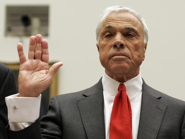 Angelo Mozilo, former CEO of Countrywide Financial Corp., is sworn in at a House committee hearing in Washington in 2008.