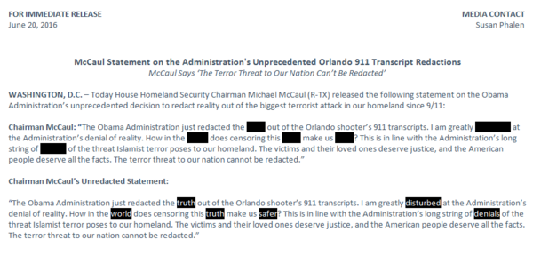 McCaul's statement on the Justice Department's Orlando 911 call transcript redactions, released Monday.