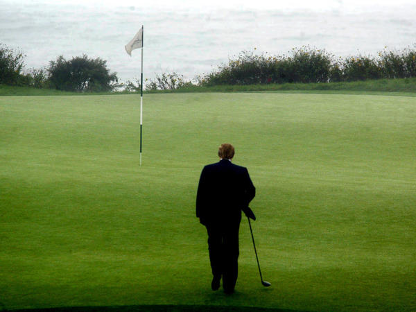 Donald Trump walks toward the 11th tee at Trump National Golf Club Los Angeles in Rancho Palos Verdes, Calif.