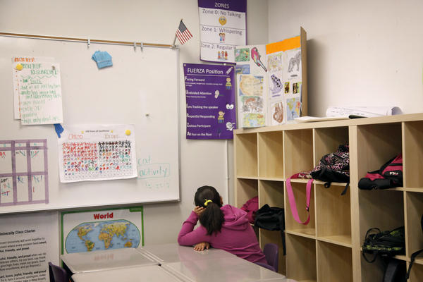 A student in Jordan Wise's third-grade literacy class sits alone.