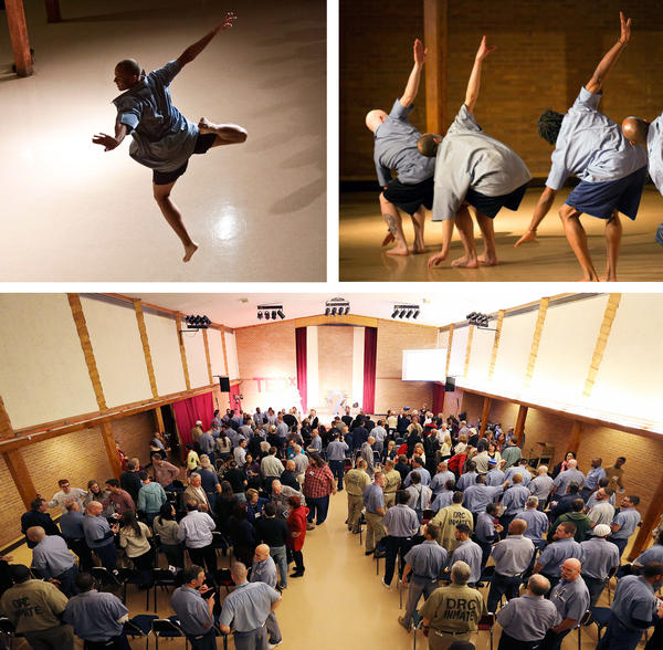 Dancers at the Marion Correctional Center in Marion, Ohio, top, perform onstage at a TEDx event in 2015. Attendees and speakers at the event included prison inmates and visitors.