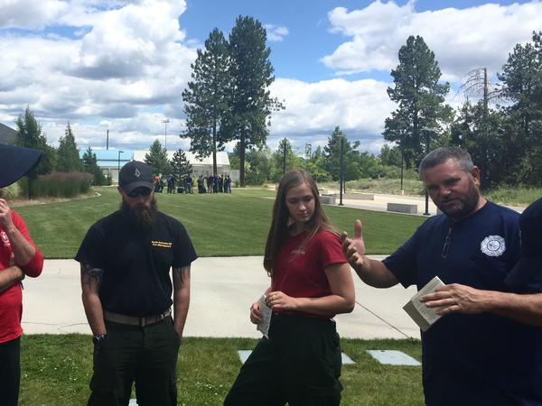 Students at a fire academy in Deer Park, Washington, learn about weather patterns and how they will affect fire behavior.