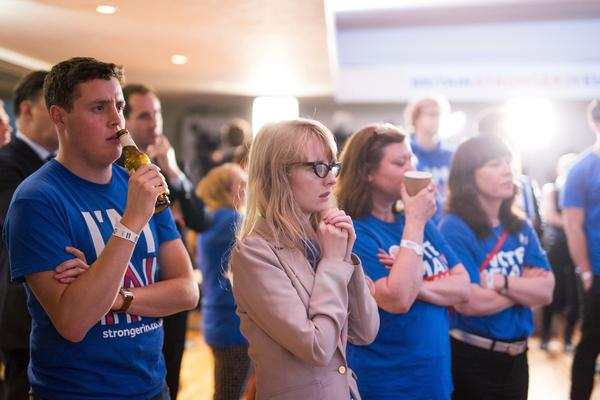 Supporters of the Stronger In campaign, which advocated for remaining in the EU, watch the results of the EU referendum being announced at London's Royal Festival Hall on Friday. Voters opted to leave the European Union.