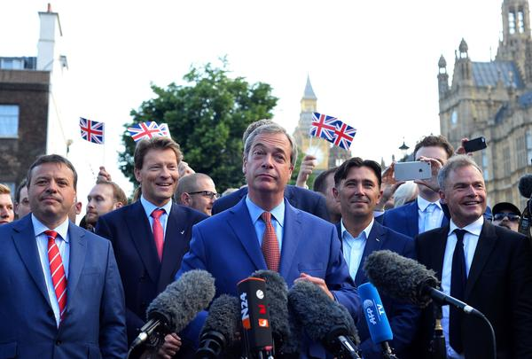"Nigel Farage, leader of the United Kingdom Independence Party (UKIP), a vocal supporter of the ""Leave"" campaign who was once regarded as a fringe politician, speaks during a press conference near the Houses of Parliament in central London on Friday."