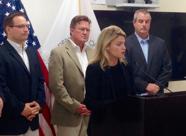 <p>Federal Railroad Administration acting chief Sarah Feinberg discusses the cause of a February train derailment during a news conference in Montgomery, W.Va., Friday, Oct. 9, 2015. A new report by the FRA found that Union Pacific failed to properly maintain its tracks in the Columbia River Gorge, leading to the recent derailment of a train carrying crude oil.</p>
