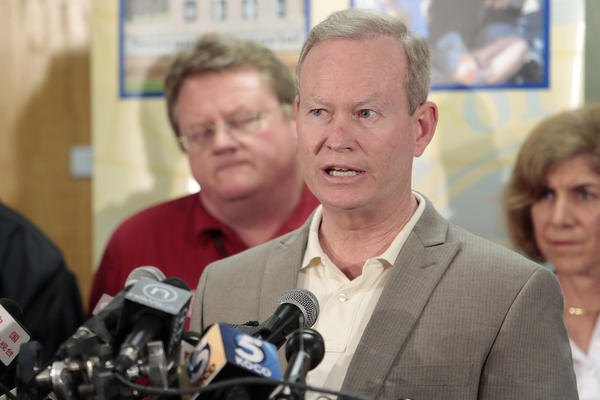 Mayor Mick Cornett of Oklahoma City speaks during a press conference May 22, 2013 in Moore, Oklahoma after a tornado touched down May 20 killing at least 24 people and leaving behind extensive damage to homes and businesses. (Brett Deering/Getty Images)