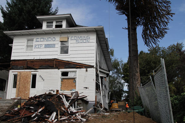 <p>Squatters protest the demolition of a home in Southeast Portland.</p>