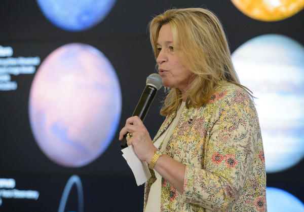 Ellen Stofan, NASA's Chief Scientist, speaks at NASA's Earth Day event, Friday, April 22, 2016 in Washington, DC. (Flickr/Creative Commons/NASA/Joel Kowsky)