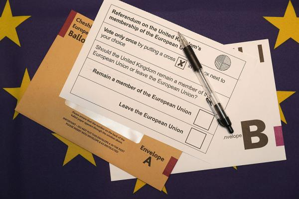 In this photo illustration a European Union referendum postal voting form, waits to be signed on June 1, 2016 in Knutsford, United Kingdom. (Christopher Furlong/Getty Images)