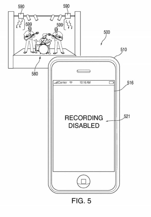A drawing from the Apple patent specifically shows how the technology could prevent music fans from taping a live show.