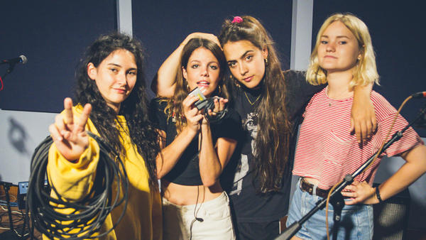 Hinds at the <em>World Cafe</em> performance studio.
