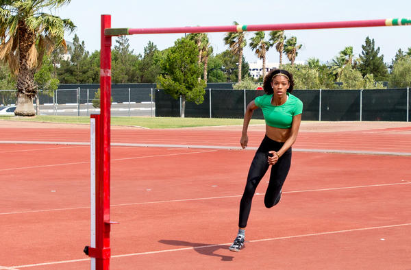 Vashti Cunningham, 18, practices the high jump at the University of Nevada Las Vegas' Sheila Tarr Track on June 21. She set a world junior record in March and is expected to make the U.S. Olympic team this weekend.
