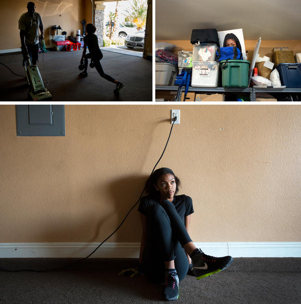 (Top left) Vashti Cunningham does lunges as her father vacuums in the garage, which functions as a training room at the Cunninghams' home in Las Vegas. (Top right) A poster of Vashti peeks over storage boxes in the garage at the Cunninghams' home. (Bottom) Vashti stretches as she begins a workout with her father.