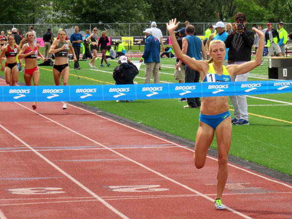 Katie Mackey of the Brooks Beasts Track Club in Seattle won the 1500 meter race at the Brooks PR Invitational on June 18, 2016.