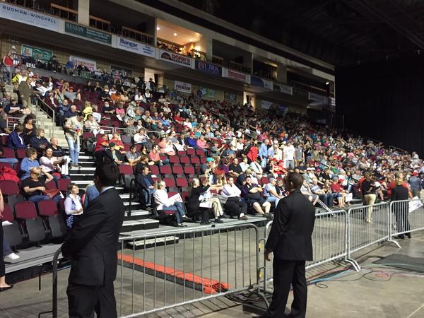 The crowd at Donald Trump's rally in Bangor Wednesday.