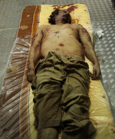 <p>Moammar Gadhafi's body has been kept in a commercial freezer at a shopping center in Misrata, Libya.</p>