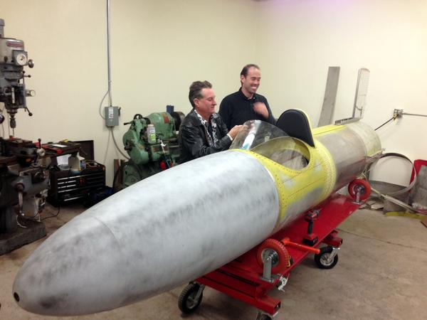 The rocket that Scott Record, left, and Scott Truax plan to use to recreate Evel Knievel's Snake River Canyon jump is about 60 percent complete.