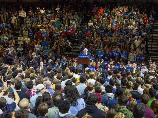 Vermont Sen. Bernie Sanders speaks at a campaign rally in Poughkeepsie, N.Y.