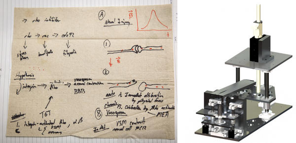 On a set of napkins, Kit Parker sketched out his theory about blast wave damage to the brain. His team then designed experimental equipment to test the effects of blast waves on cells in the lab.