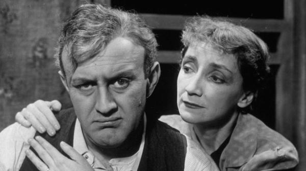 Lee J. Cobb and Mildred Dunnock in a production of Arthur Miller's <em>Death of a Salesman</em> in 1949.