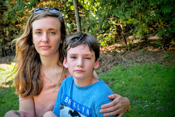 "Natalie Dunnege's son, Strazh, has autism. ""He's really a good kid,"" Dunnege says, ""But it's a lot to handle, especially as a single parent."""