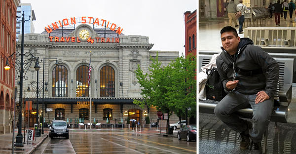 (Left) Union Station in Denver. (Right) Patrick Casica in the bus depot at Denver's Union Station. Casica gave up his more lucrative bartending job to pursue a tech career at Mesa Labs in Denver.