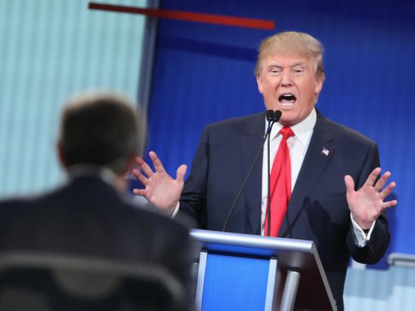 Trump fields a question during the first Republican presidential debate hosted by Fox News. That debate pulled in 24 million viewers, the largest ever for a presidential primary debate.