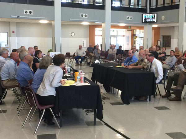 Lawmakers listen as local officials make the case for state-funded highway improvements during a public hearing in Hermiston, Oregon.