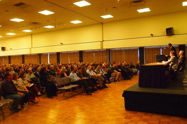 WIU President Jack Thomas addresses faculty and staff during Tuesday's budget forum