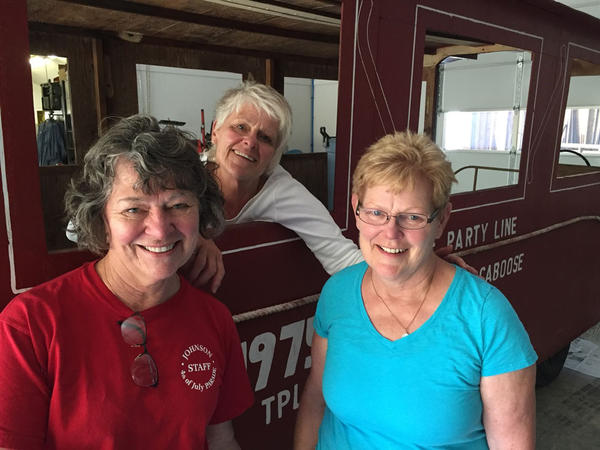Three of the original sisters gathered recently at one of their farms to help get ready for the 50th year of the Johnson Parade near Pullman, Washington. In red, Chris Lynch, in white, Carrie Druffel and in blue, Kathy Wolf.