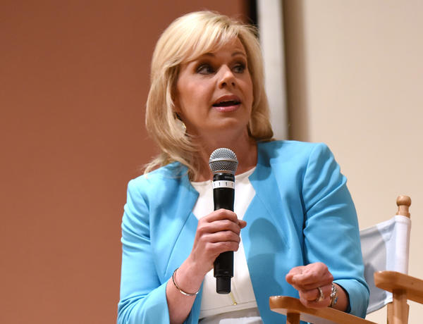 Gretchen Carlson speaks on a panel about women in the media at Greenwich International Film Festival on June 12 in Greenwich, Conn.