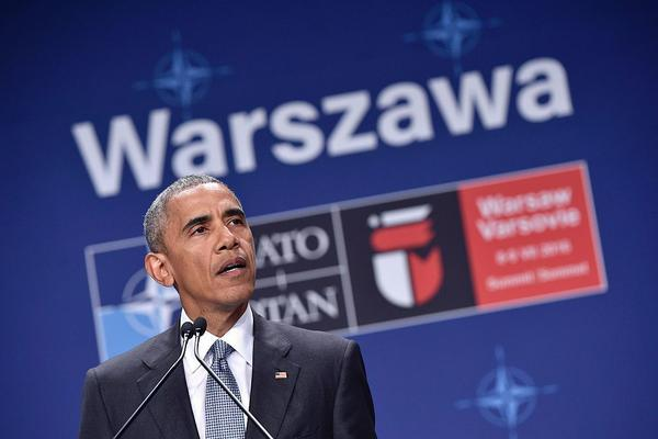 U.S. President Barack Obama addresses a press conference during the second day of the NATO Summit at the Polish National Stadium in Warsaw on Saturday.