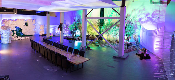 The dining room for <em>Wolvesmouth: Taxa</em>, a pop-up dining experience as art installation at the Museum of Contemporary Art's Geffen Contemporary location.