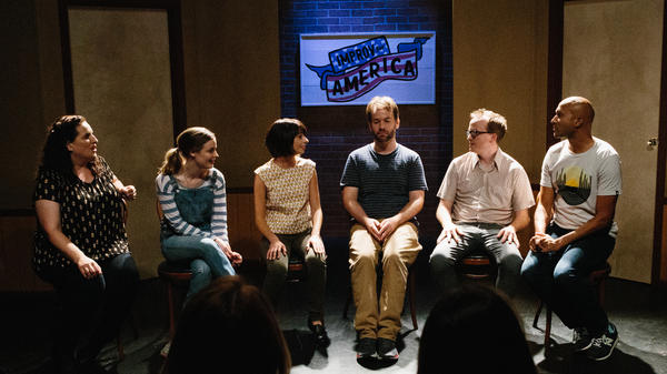 "<em>Don't Think Twice</em> is about fame and friendship,"" but mostly it's a celebration of improv. (Pictured: Tami Sagher, Gillian Jacobs, Kate Micucci, Mike Birbiglia, Chris Gethard and Keegan-Michael Key)"