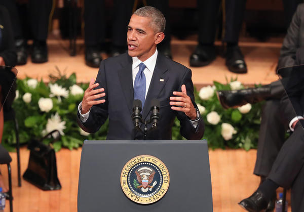 President Barack Obama delivers remarks during an interfaith memorial service, honoring five slain police officers, at the Morton H. Meyerson Symphony Center in Dallas, Texas.