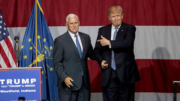 On Tuesday night, presumptive Republican presidential nominee Donald Trump campaigned with Indiana Gov. Mike Pence, who he is vetting as his running mate.