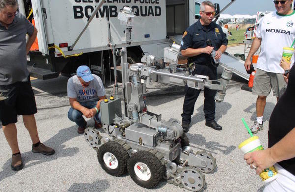 Cleveland police displayed a bomb squad robot.