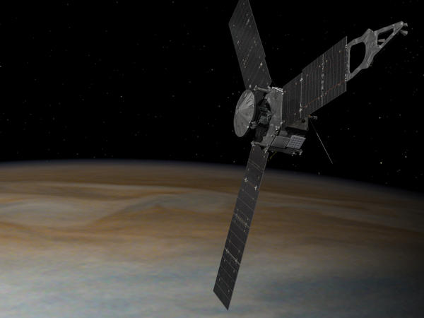 An illustration of NASA's Juno mission to Jupiter.