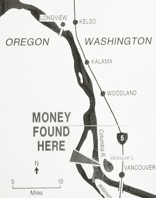 Map showing the area where some several thousand dollars from the D.B. Cooper hijacking was found in February 1980 by 8-year-old Brian Ingram while on a family outing.