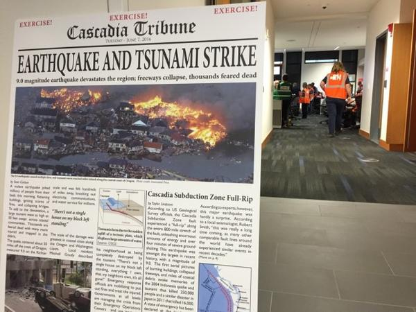 <p>Officials simulate their response to a Cascadia Subduction Zone earthquake at the Emergency Operations Center in Southeast Portland</p>