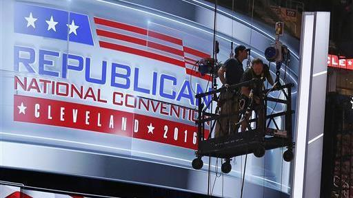 The main stage on the convention floor at the Quicken Loans Arena in downtown Cleveland is prepared for the upcoming Republican National Convention on Wednesday.