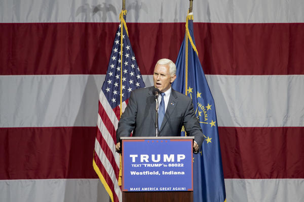 Indiana Gov. Mike Pence delivers a speech during a campaign rally for Donald Trump in Westfield, Ind., on Tuesday.