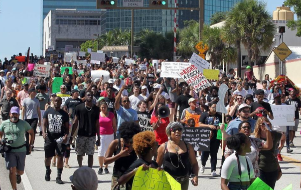 A large group of people marched from the Stranahan Park through Andrews Avenue to the Broward Sheriff's Office Main Jail during a Black Lives Matter rally against police violence.  Read more here: http://www.miamiherald.com/news/local/community/broward/ar